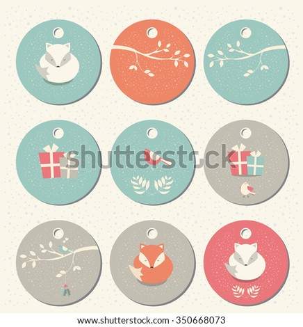 Collection of 9 round Christmas and New Year gift tags with foxes, birds and branches, vector illustration - stock vector