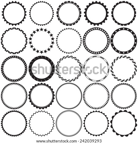 Collection of Round Decorative Border Frames with Clear Background. Ideal for vintage label designs. - stock vector