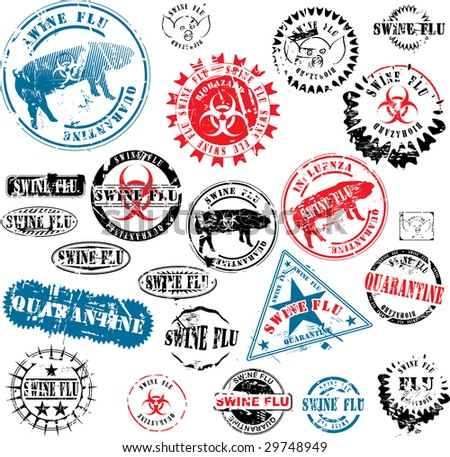 Collection of rubber stamps about swine flu. See other rubber stamp collections in my portfolio. - stock vector