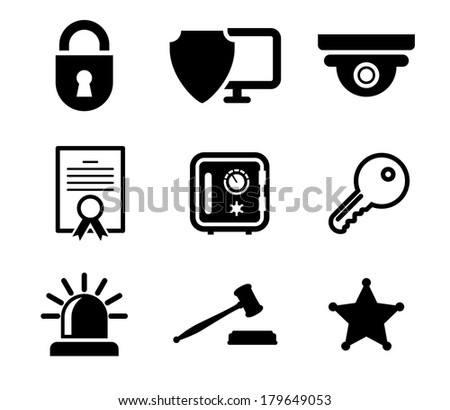 Collection of safety and security icons logo in black and white depicting a padlock, computer security, certificate, key, police light, gavel and sheriffs star - stock vector