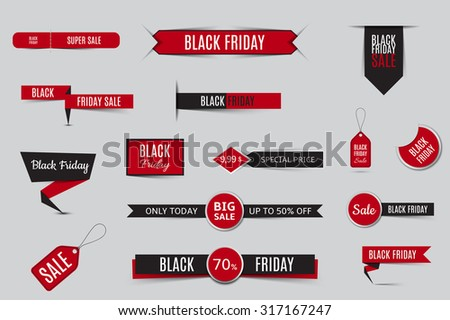 Collection of sale banners and discount banners for black friday. Vector template of labels of sale. - stock vector