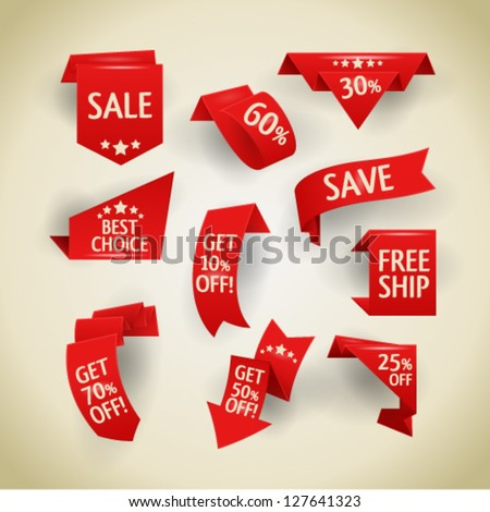 Collection of sale discount origami styled website ribbons, corners, labels, curls and tabs. Image contains transparency - you can put them on every surface. 10 EPS - stock vector