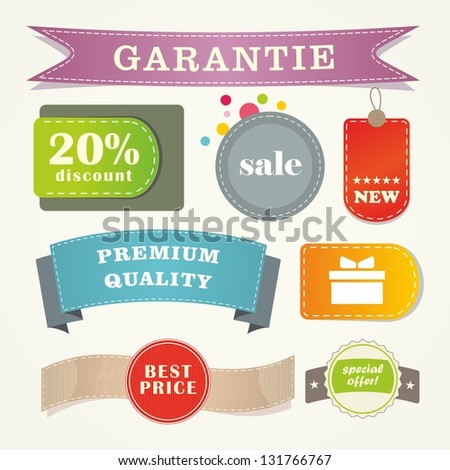 Collection of sale elements - stickers, labels, tags. Web banner and button. - stock vector