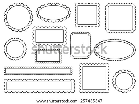 Collection of scalloped frames - stock vector