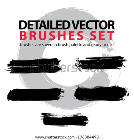 Collection of scanned and traced creative brushstrokes, illustrator object brushes saved in brush palette and ready to use. - stock vector