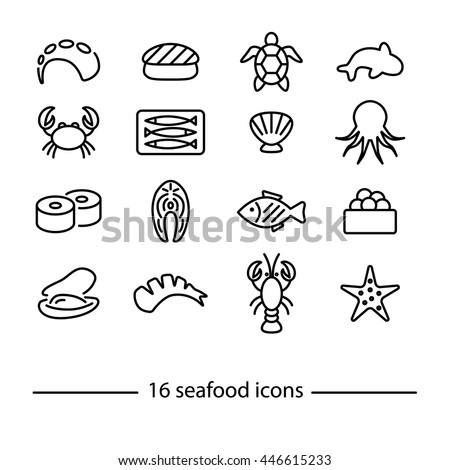 collection of seafood line icons - stock vector