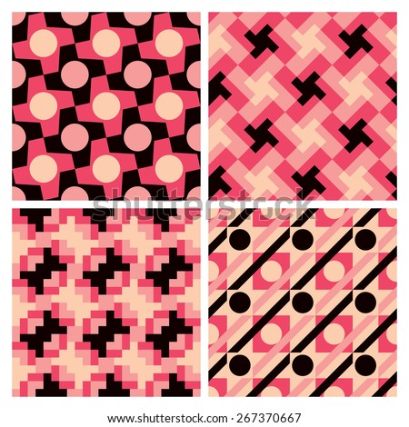 Collection of seamless geometric patterns. - stock vector