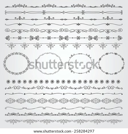 Collection of Seamless Hand Drawn Doodle Vintage Borders and Frames. Vector Illustration with Pattern Brushes - stock vector