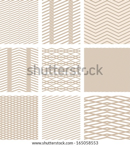 collection of seamless line texture beige - stock vector