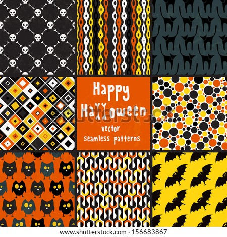 Collection of seamless patterns for Halloween design. EPS 10 vector illustration. Each pattern is isolated on a separate layer. - stock vector
