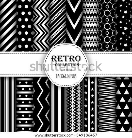 Collection of seamless patterns for wallpapers, pattern fills, web backgrounds, birthday and wedding cards. Black and white colors. - stock vector