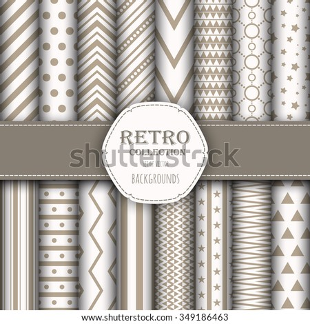 Collection of seamless patterns for wallpapers, pattern fills, web backgrounds, birthday and wedding cards. Beige and white colors. - stock vector
