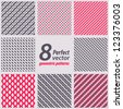 Collection of 8 seamless patterns. Vector set. - stock vector