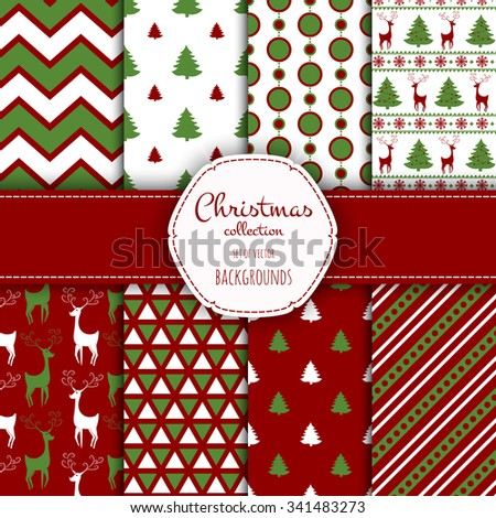 Collection of seamless patterns with red and white colors.  Set of seamless backgrounds with traditional symbols - snowflakes, pine tree,deer and suitable abstract patterns.  - stock vector