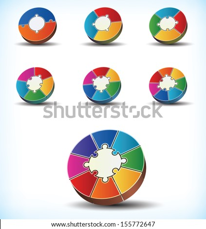 Collection of seven different templates of colorful statistical wheel charts with component divisions numbering between two and eight making up the circumference of the wheel - stock vector