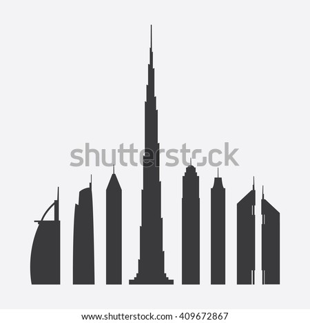 Collection of Seven Famous Skyscrapers Silhouette in Dubai: Burj Al Arab, Almas Tower, 23 Marina, Burj Khalifa, The Princess Tower, Elite Residence, Emirates Towers - For Editorial Use - stock vector