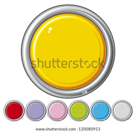 collection of seven glossy buttons (vector design elements, round metallic badges, buttons collection, blank web buttons) - stock vector