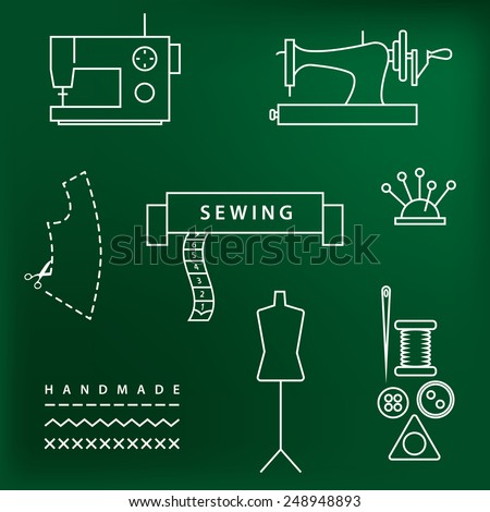 Collection of sewing and handmade accessories outline icons. Vector linear illustrations set for seamstress profession.   - stock vector