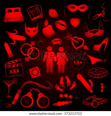 Collection of sex objects icons on red and black background. Vector illustration. - stock vector
