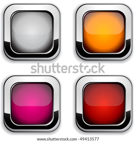Collection of shiny buttons. Vector illustration. - stock vector
