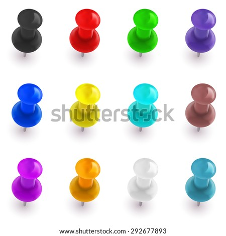 Collection of shiny colorful office pins - stock vector