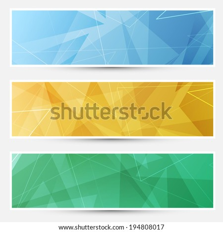 Collection of shiny crystal structured cards with lines. Vector illustration - stock vector