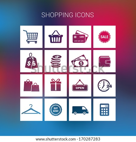 Collection of shopping icons on a blurred background - stock vector