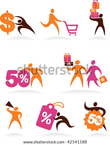 collection of shopping people icons - stock vector