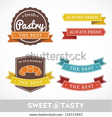 Collection of signs labels with BAKERY text and sweet pastry, pastry factory labels concept, vector illustration - stock vector