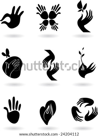 collection of silhouette hands icons - stock vector