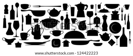 Collection of silhouette kitchen utensil tool. - stock vector