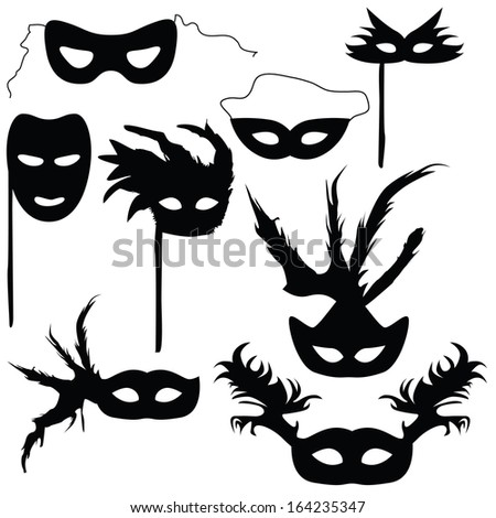 Collection of silhouettes carnival masks (vector illustration) - stock vector