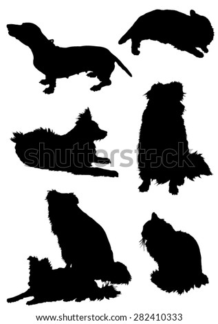 Collection of silhouettes of a cat and dog - stock vector