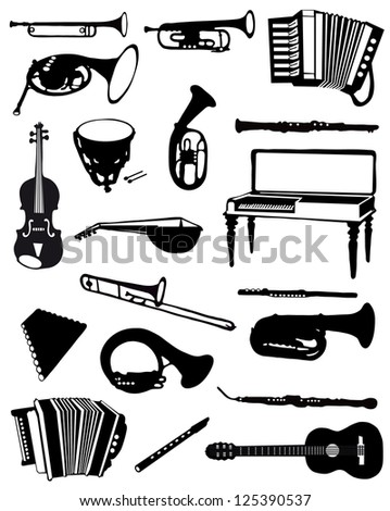 Collection of silhouettes of ancient musical instruments - stock vector