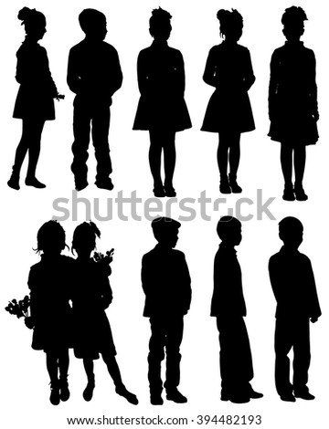 Collection of silhouettes of children on a white background. - stock vector