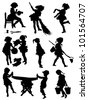 Collection of silhouettes of children taken with work - stock vector