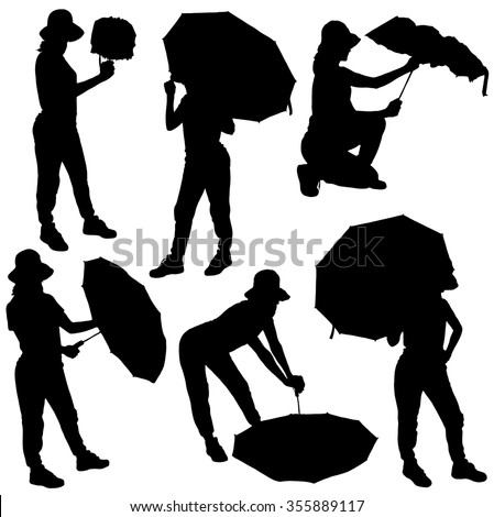 Collection of silhouettes of girls with umbrellas in different poses on white background - stock vector