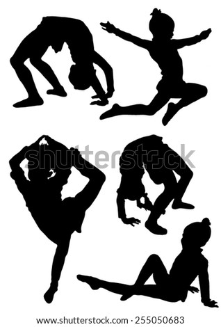 Collection of silhouettes of gymnasts - stock vector
