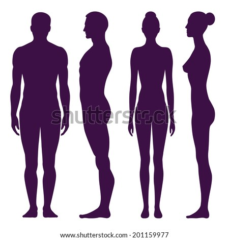 Collection of silhouettes of man and woman in front and side view. Vector illustration, isolated on white background - stock vector