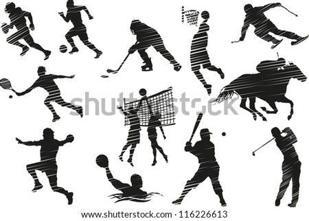 Collection of silhouettes of sports activities. - stock vector