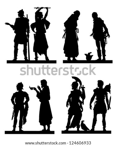 Collection of silhouettes of the Greek soldiers and people - stock vector