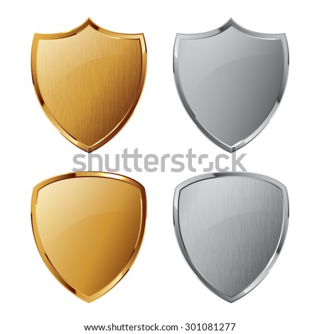 Collection of silver and golden shields with and without metal texture. Security symbol. You can remove and add texture quickly - stock vector