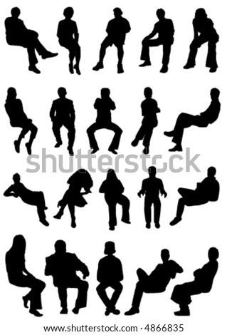collection of sitting people vector - stock vector