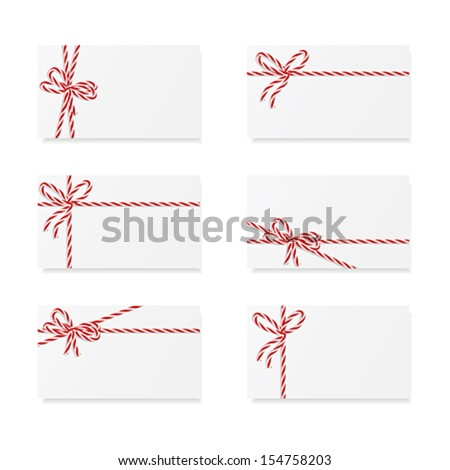 Collection of six card notes with red bows and ribbons - stock vector