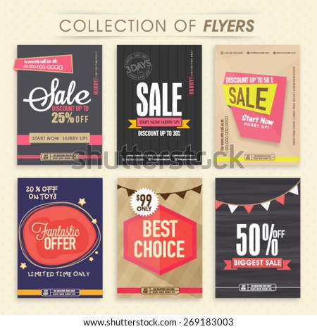 Collection of six creative Sale Flyers, can be used as poster or banner design. - stock vector