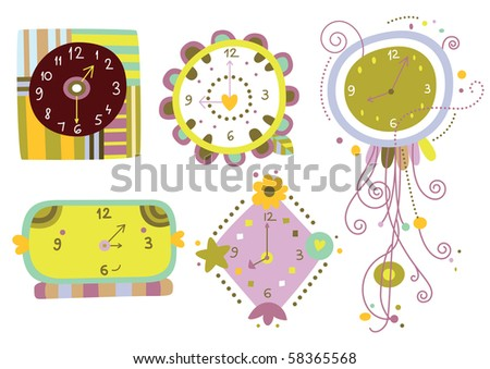 Collection of six cute clocks with varied shapes and colors. - stock vector