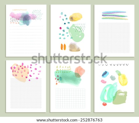Collection of six cute universal card or invitations. Wedding, marriage, anniversary, birthday, Valentin's day. Stylish simple design and gentle colors - stock vector