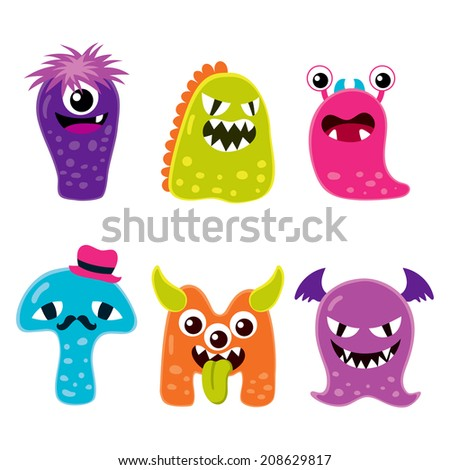 Collection of six different cute funny Halloween monster mascot cartoon characters - stock vector