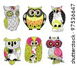 Collection of six different owls - stock vector
