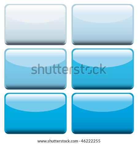 Collection of six lozenge shaped web buttons with blue hues - stock vector